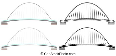 Millenium Bridge colored and outline only.