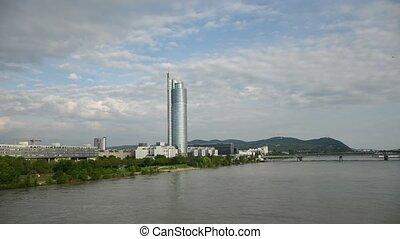 Millenium Tower Skyscraper in Vienna, view from bridge Reichsbr?cke over river Donau