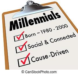millennials, チェックリスト, クリップボード, 年齢, 社会, 接続される, 原因, 運転された