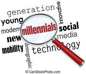 millennials, 世代, 若い, ガラス, s, 言葉, 技術, 拡大する