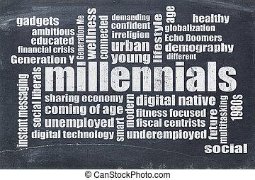 millennials, 単語, 雲, 上に, 黒板