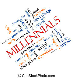 millennials, begrepp, ord, moln, meta