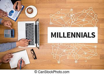 MILLENNIALS Business team hands at work with financial ...