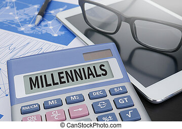 MILLENNIALS Calculator on table with Office Supplies. ipad