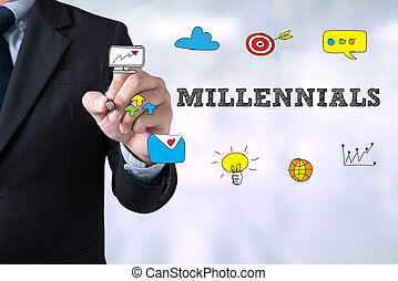 MILLENNIALS CONCEPT Businessman drawing Landing Page on ...