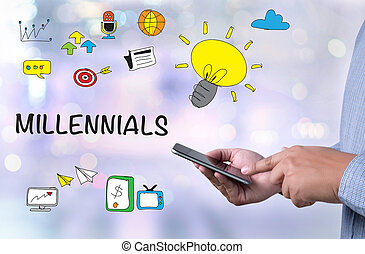 MILLENNIALS CONCEPT person holding a smartphone on blurred ...