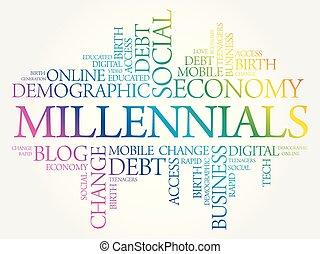 millennials, concepto, palabra, nube, social