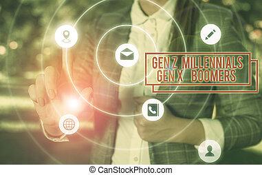 millennials, diferencias, concepto, boomers., generacional, texto, joven, x, escritura, escritura, z, viejo, gen, showing., significado