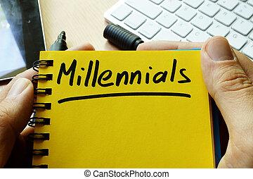 millennials, handgeschrieben, note.