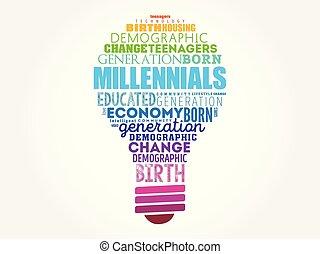 millennials, luz, palabra, nube, bombilla