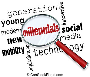 Millennials Magnifying Glass Words Young Generation...