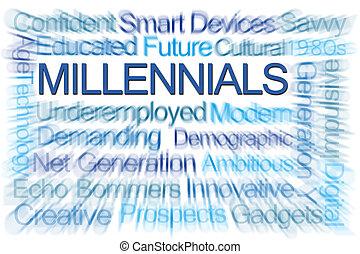 millennials, mot, nuage