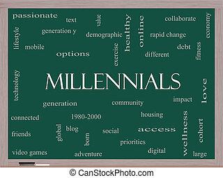 millennials, ord, moln, begrepp, på, a, blackboard