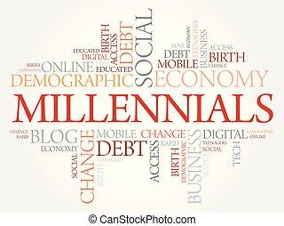 millennials, palabra, nube, social