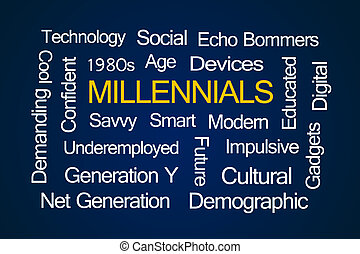 millennials, palabra, nube
