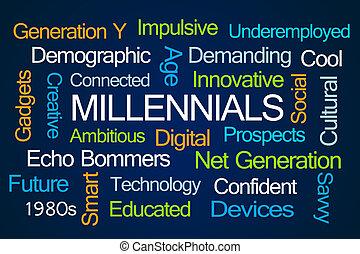 millennials, palavra, nuvem
