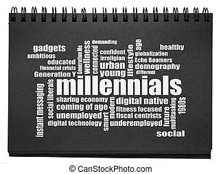 millennials, palavra, nuvem, sketchbook