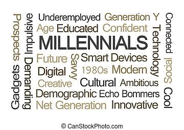 millennials, szó, felhő