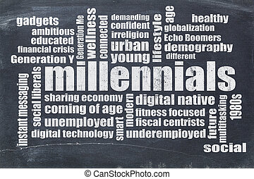 millennials, woord, wolk, op, bord