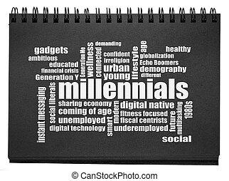 millennials, woord, wolk, sketchbook