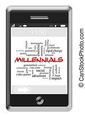 Millennials Word Cloud Concept on a Touchscreen Phone