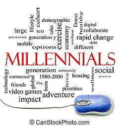 Millennials Word Cloud Concept with a mouse and great terms ...