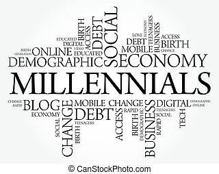 Millennials Word Cloud Social Concept collage background