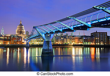 Millennium Bridge and Saint Paul Cathedral, London, UK