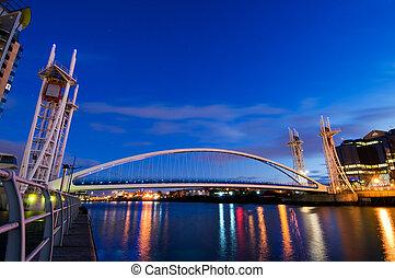 Side view of Millennium Bridge Manchester at Salford Quays