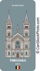 Millennium Church in Timisoara, Romania. Architectural symbols of European cities. Colorful vector
