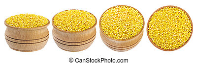 Millet bowl isolated on white background - Millet in wooden ...