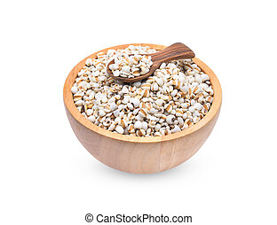 Millet rice , millet grains in wooden bowl and spoon isolated on white background