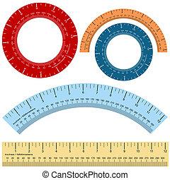 millimeter, linjal, form, sätta, tummen
