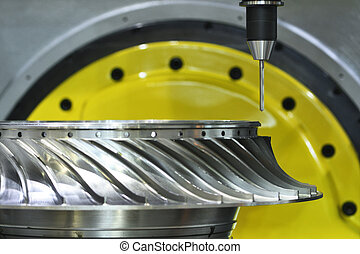 Milling cutting process. CNC metalwork machining by mill cutter