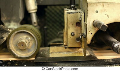 Milling machine. Close-up on flying shavings - Milling...