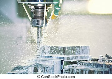 Milling Machine - Cooling Water Splashing