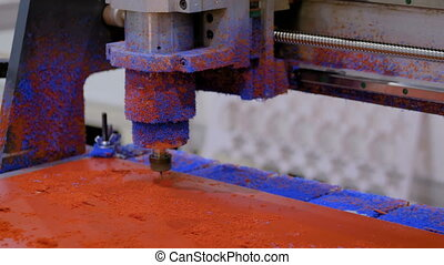 Milling machine during work with plastic material - Milling...