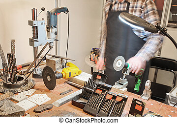 milling machine operator at the work