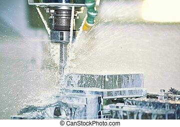 Milling Machine - Cooling Water Splashing