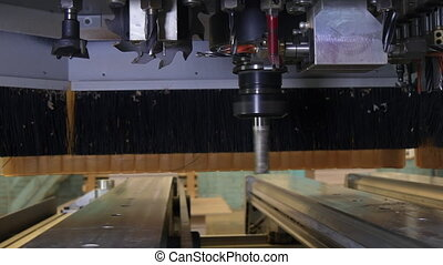 Milling machine wood CNC for industrial furniture production.