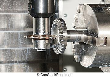 Milling process of metal detail on CNC machine