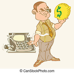 million - A man holding a lemon with a dollar sign. He looks...