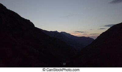 Million Dollar Highway Colorado Birds eye view after Sunset