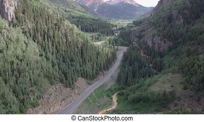 Million Dollar Highway Colorado Route 550 near Ouray Aerial...