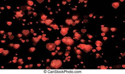 """Million red hearts particles and element up and down scale fast blink and ray on the black screen, Valentine theme"""