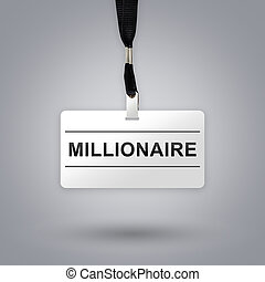 millionaire on badge with grey radial gradient background
