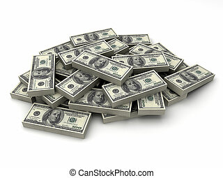 Millions dollars in a stack of $100 bills - Millions...