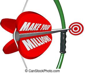 millions, meta, marca, riqueza, arco, bu, flecha, riqueza, apuntar, su, blanco