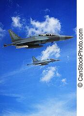 millitarya air plane on sky