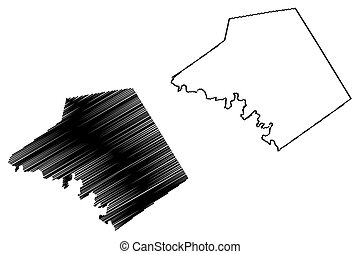 Mills County, Texas (Counties in Texas, United States of America, USA, U.S., US) map vector illustration, scribble sketch Mills map